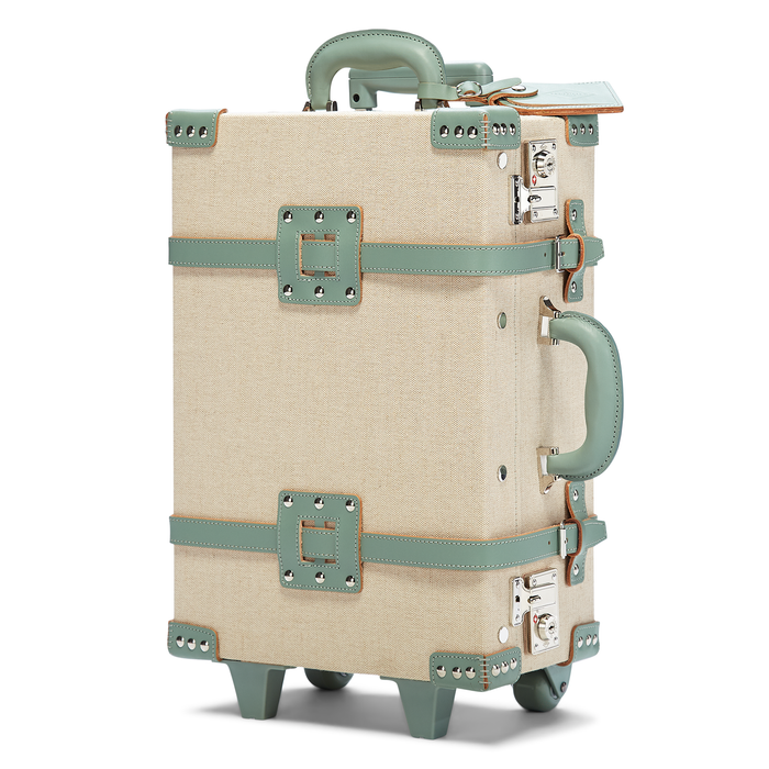 The Editor Carryon in Green - Vintage Style Linen and Leather Case - Exterior Front