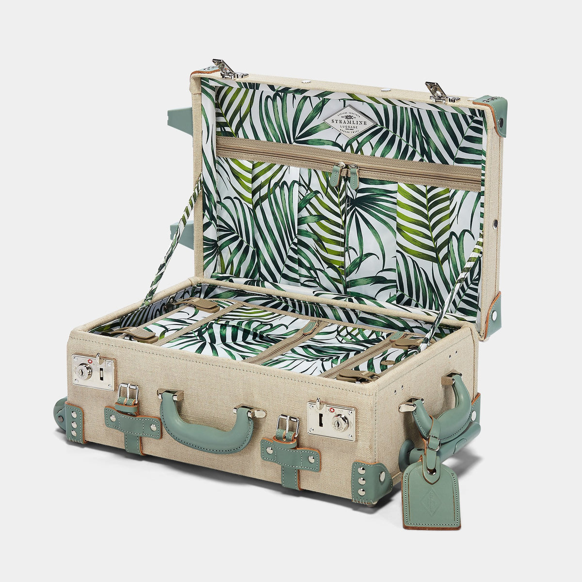 The Editor Carryon in Green - Vintage Style Linen and Leather Case - Interior Front