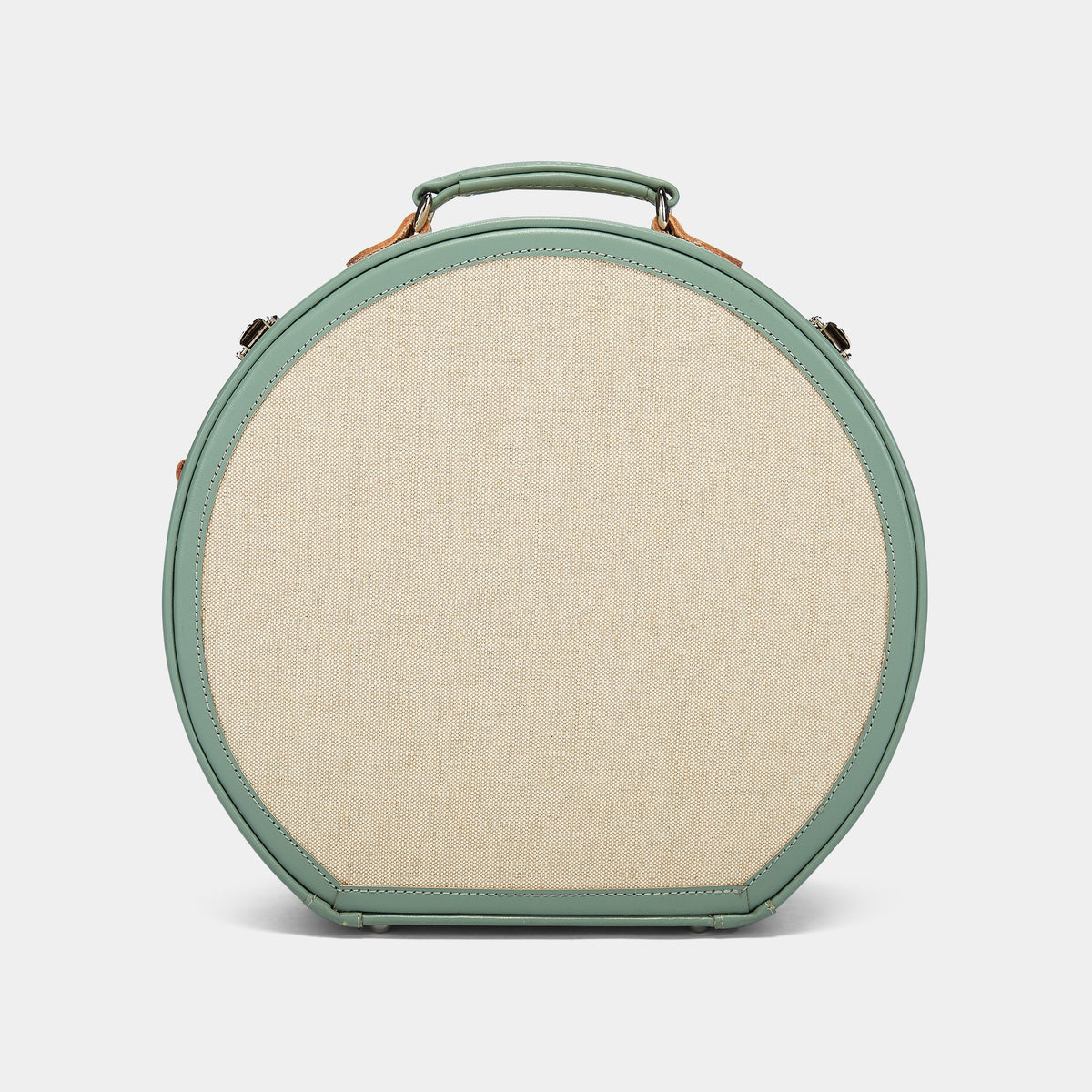 The Editor Hatbox Large in Seagreen - Hat Box Luggage - Exterior Back with Shoulder Strap