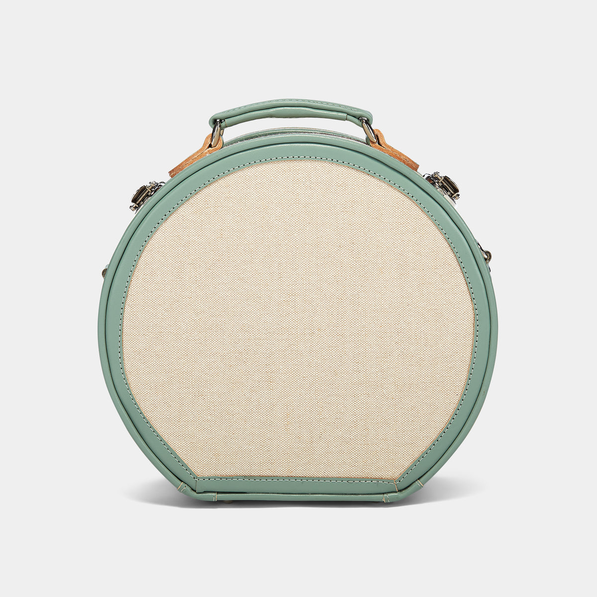 The Editor Hatbox Small in Seagreen - Hat Box Luggage - Exterior Back with Shoulder Strap
