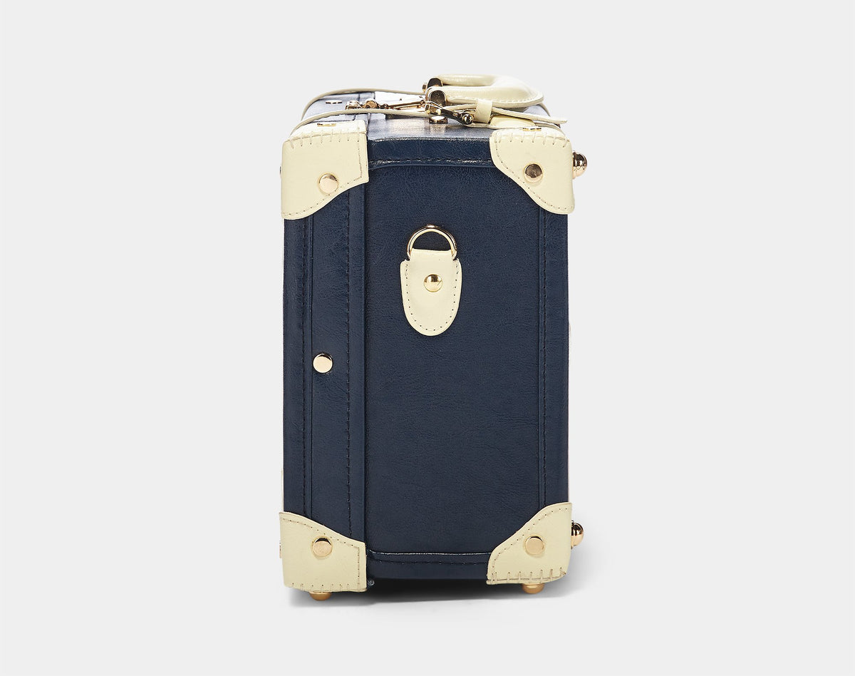 The Entrepreneur Briefcase in Navy - Vintage-Inspired Luggage - Exterior Side