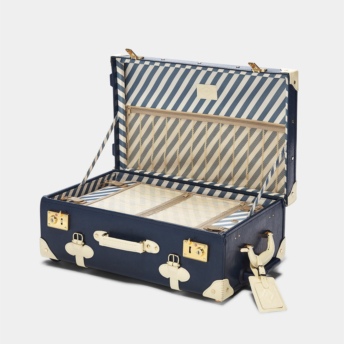The Entrepreneur Stowaway in Navy - Vintage-Inspired Luggage - Interior Front