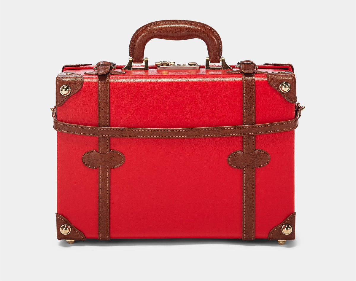 The Entrepreneur Briefcase in Red - Vintage-Inspired Vegan Luggage - Exterior Back with Shoulder Strap