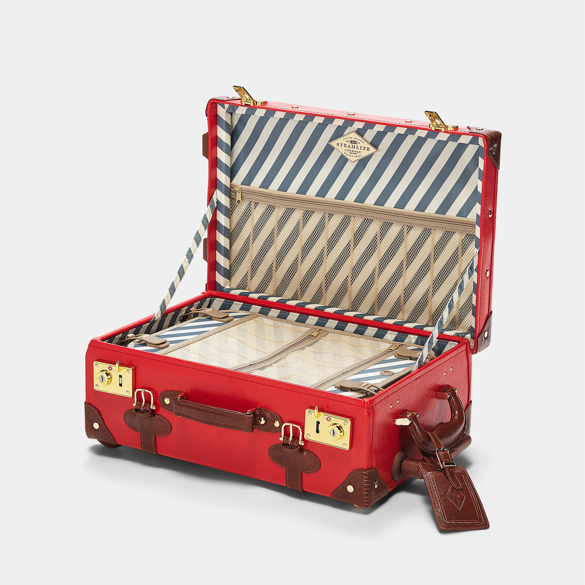 The Entrepreneur Carryon in Red - Vintage-Inspired Vegan Luggage - Interior Front
