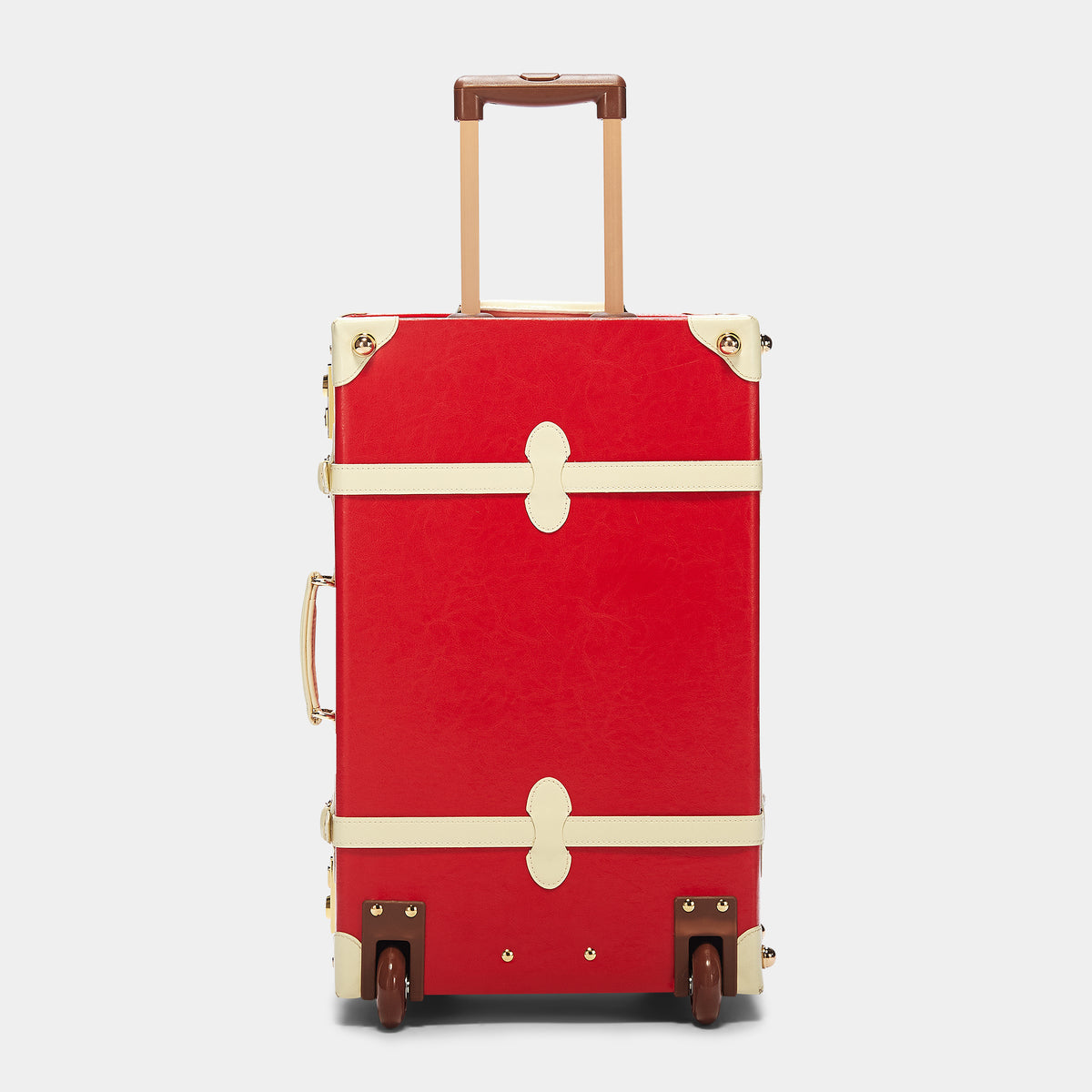 The Entrepreneur Stowaway in Red Lip - Vintage-Inspired Vegan Luggage - Exterior Back with Extendable Handle