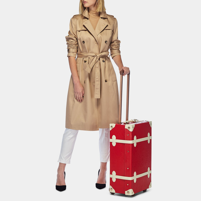 The Entrepreneur Stowaway in Red Lip - Vintage-Inspired Vegan Luggage - Exterior Front with Model
