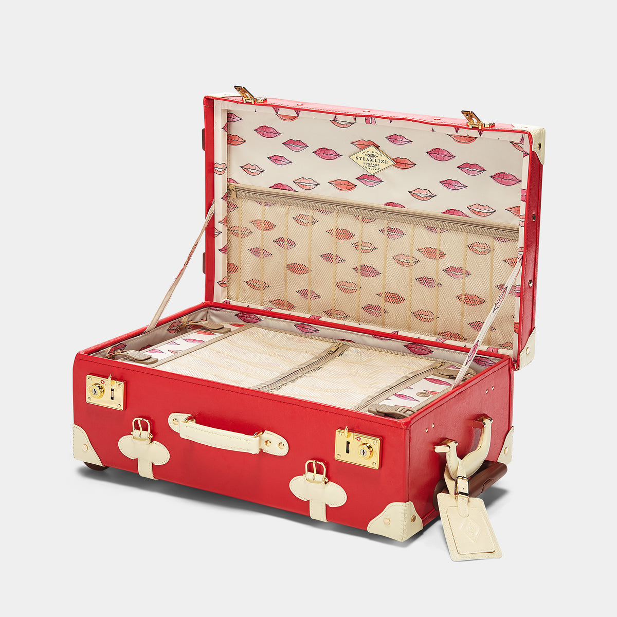The Entrepreneur Stowaway in Red Lip - Vintage-Inspired Vegan Luggage - Interior Front