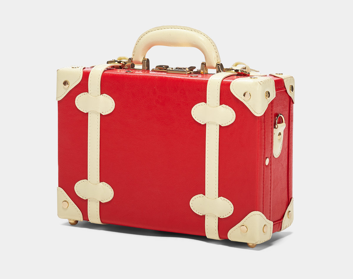 The Entrepreneur Vanity in Red Lip - Vintage-Inspired Vegan Luggage - Exterior Front