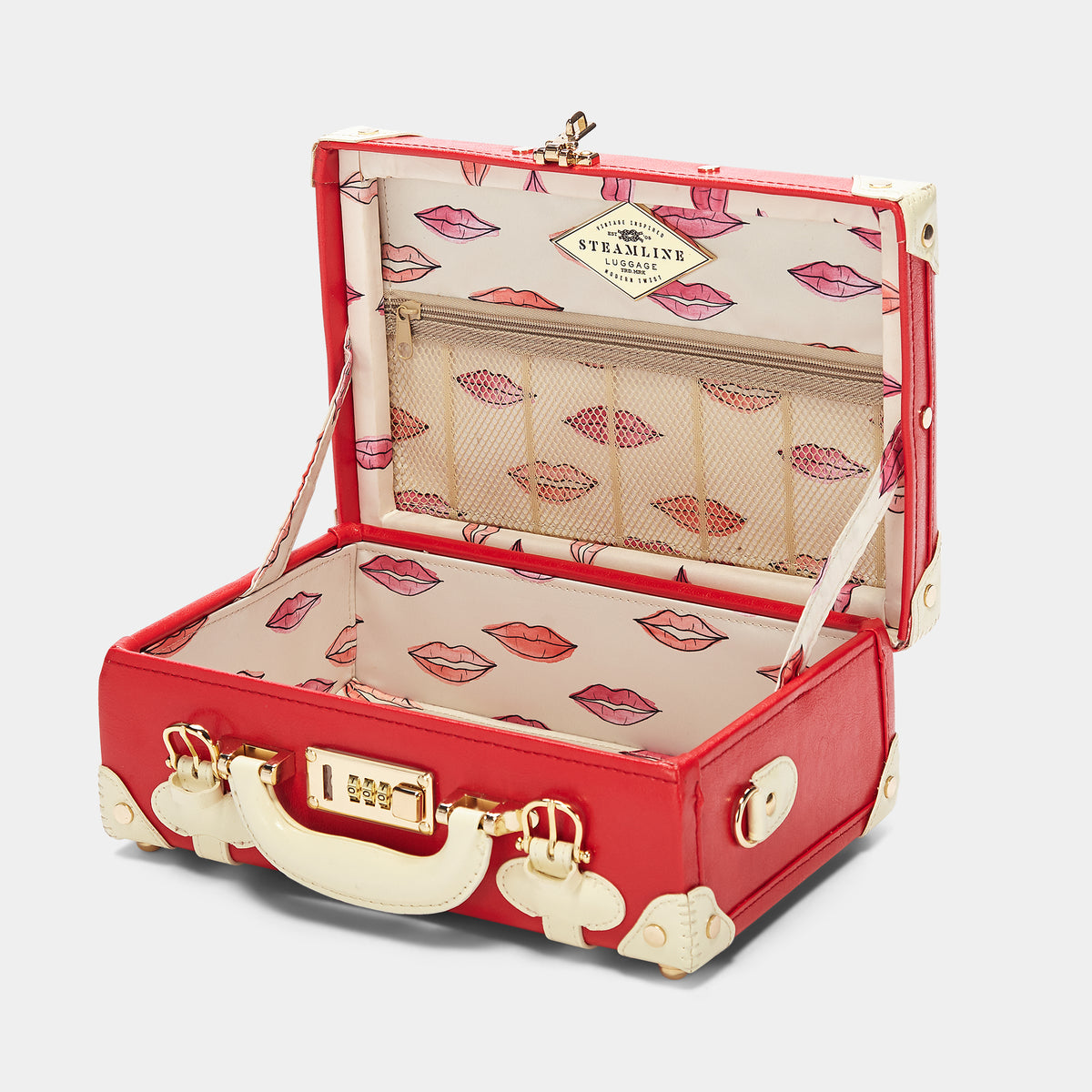 The Entrepreneur Vanity in Red Lip - Vintage-Inspired Vegan Luggage - Interior Front