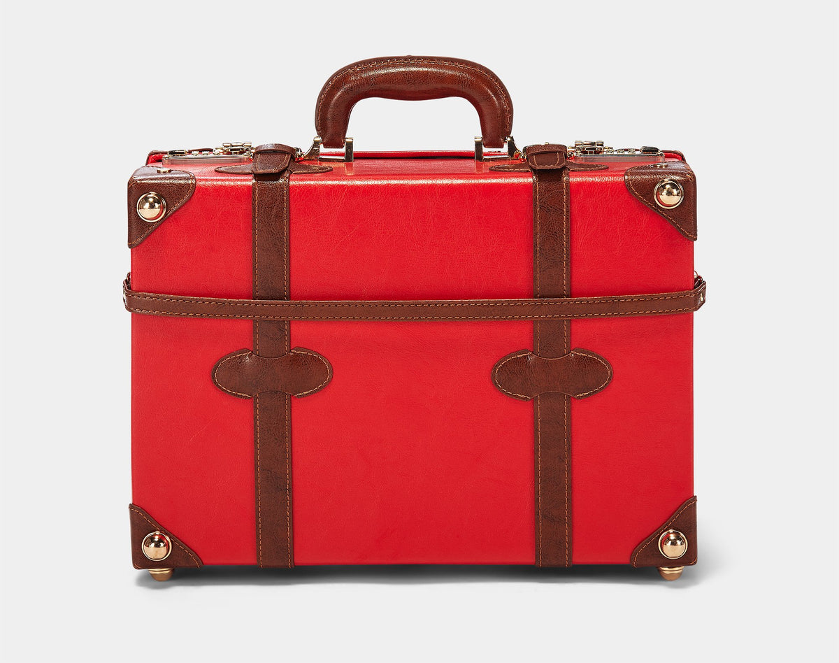 The Entrepreneur Overnighter in Red - Vintage-Inspired Vegan Luggage - Exterior Front The Entrepreneur Overnighter in Red - Vintage-Inspired Vegan Luggage - Exterior Back with Shoulder Strap