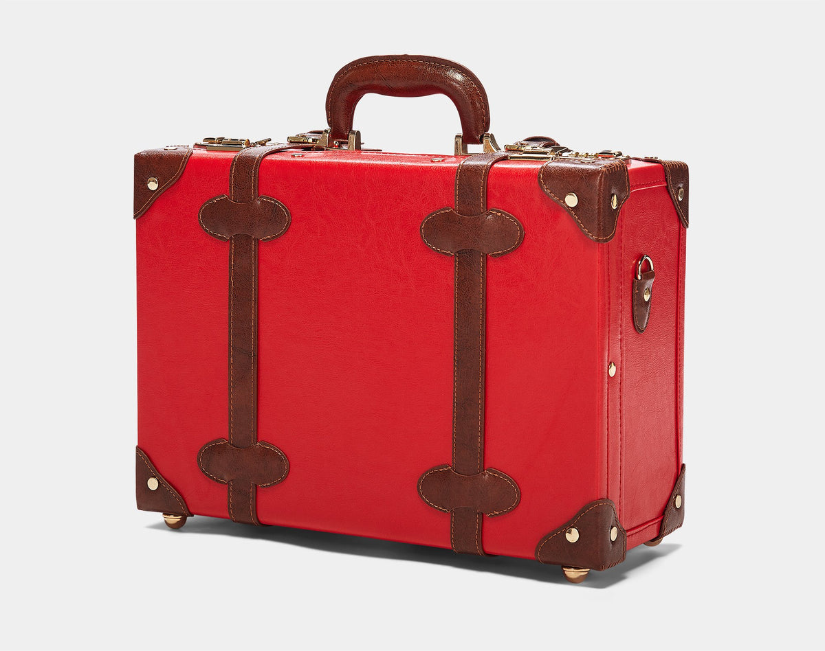 The Entrepreneur Overnighter in Red - Vintage-Inspired Vegan Luggage - Exterior Front