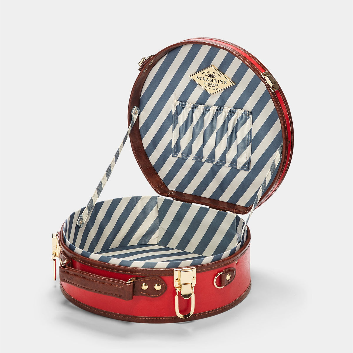 The Entrepreneur Hatbox Small in Red - Hat Box Luggage - Interior Front