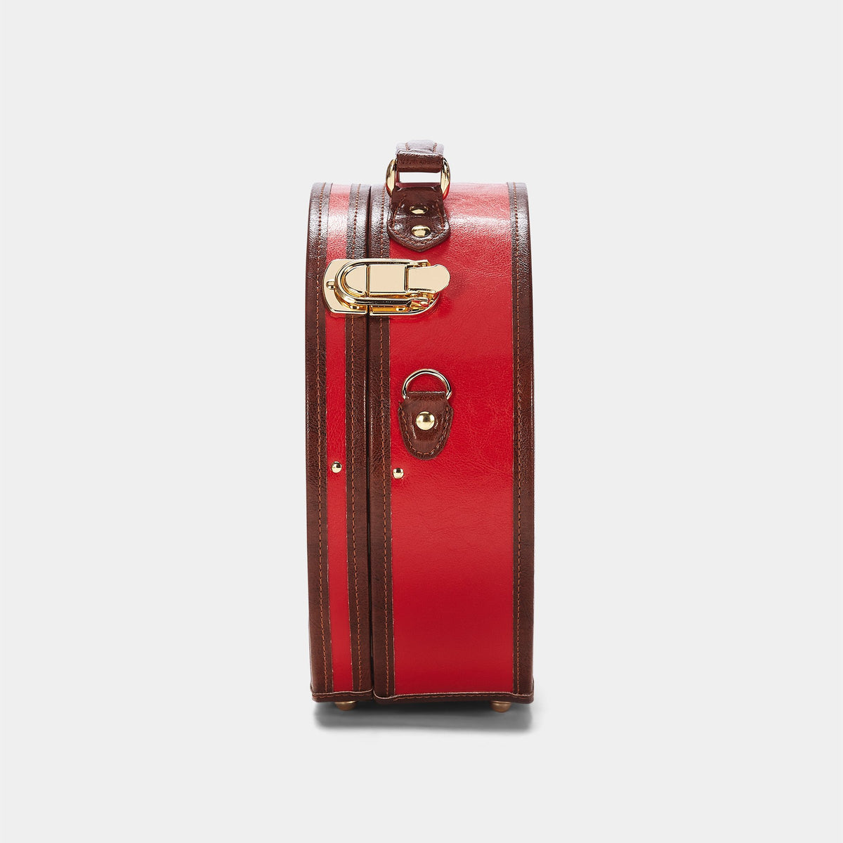 The Entrepreneur Hatbox Small in Red - Hat Box Luggage - Exterior Side