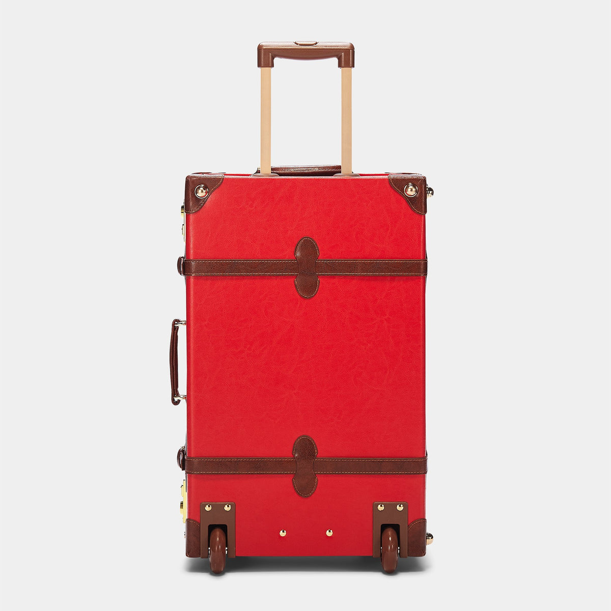 The Entrepreneur Stowaway in Red - Vintage-Inspired Vegan Luggage - Exterior Back with Extendable Handle