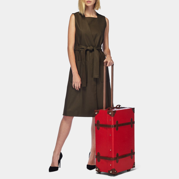 The Entrepreneur Stowaway in Red - Vintage-Inspired Vegan Luggage - Exterior Front with Model
