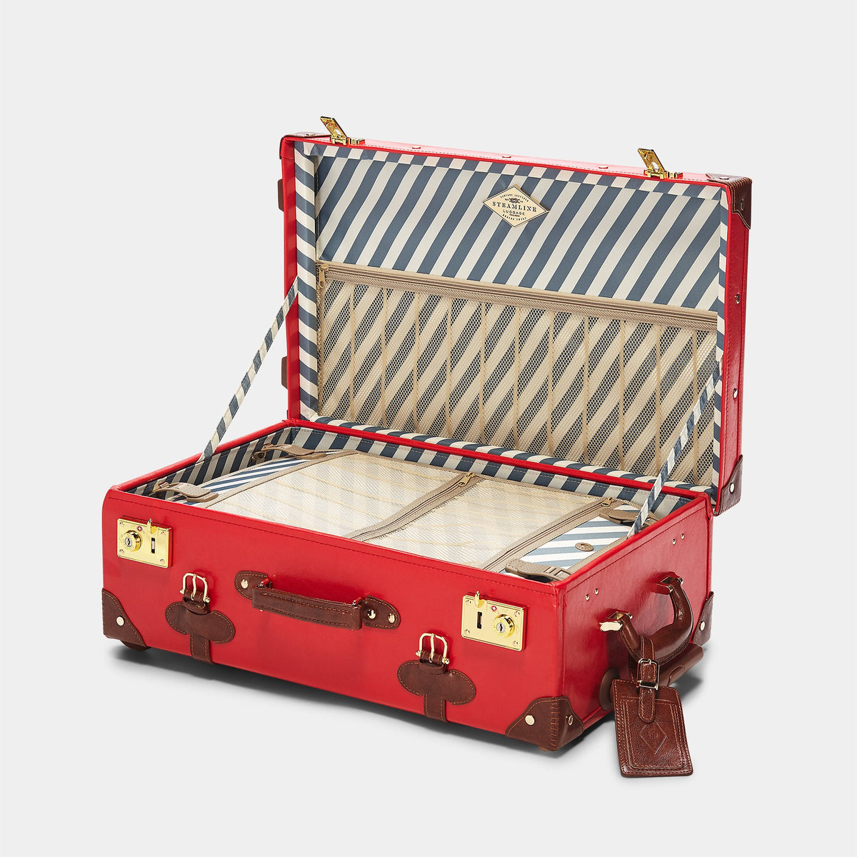The Entrepreneur Stowaway in Red - Vintage-Inspired Vegan Luggage - Interior Front