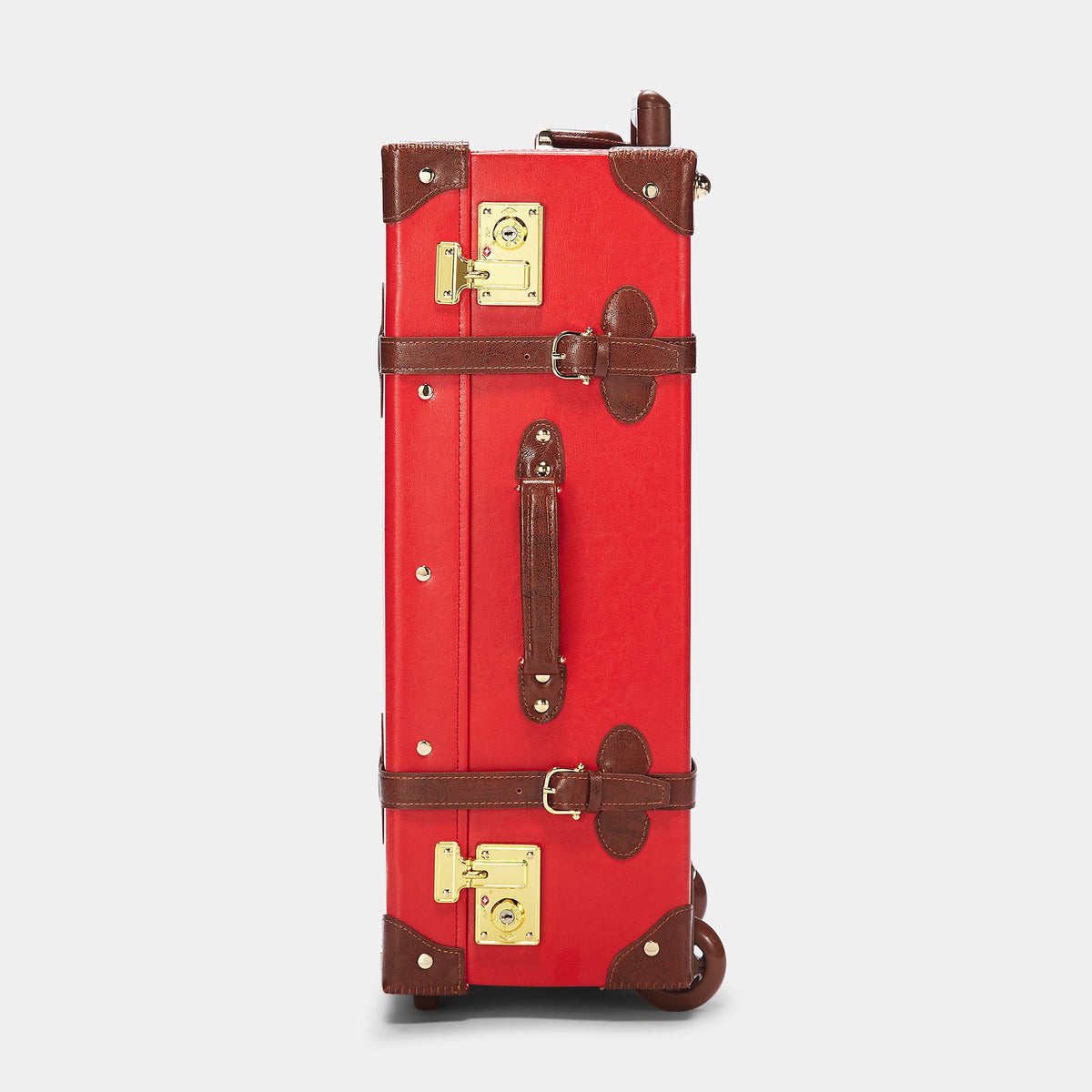 The Entrepreneur Stowaway in Red - Vintage-Inspired Vegan Luggage - Exterior Side
