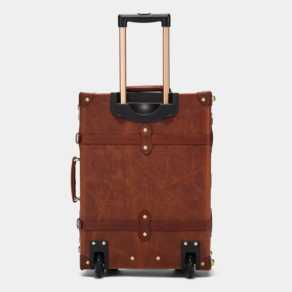 The Pioneer Carryon - Vintage Style leather suitcase - Exterior Back with Extendable Handle