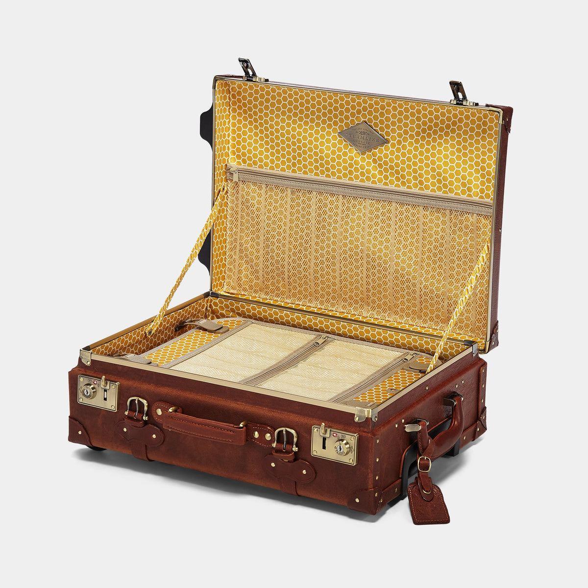 The Pioneer Carryon - Vintage Style leather suitcase - Interior Front