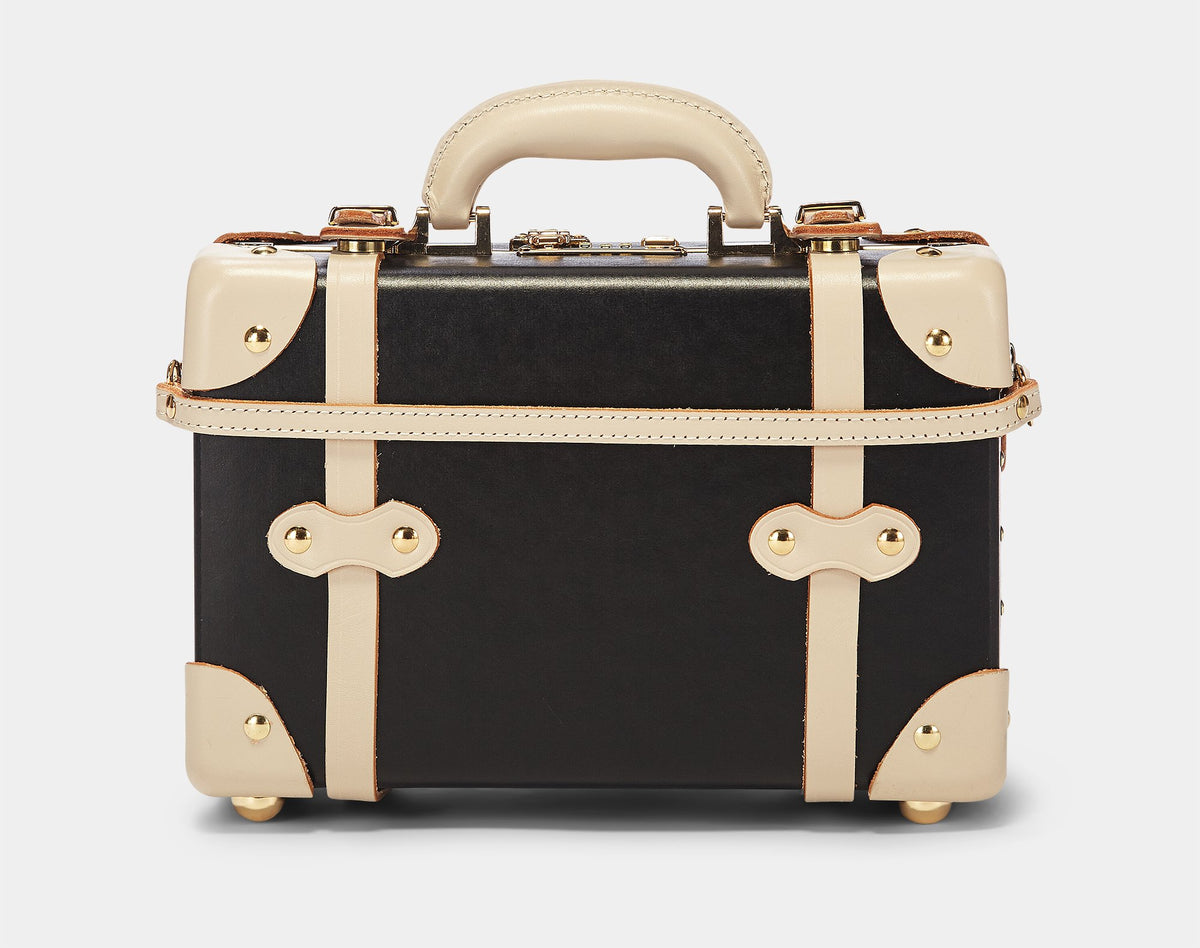 The Starlet Black Vanity- Vintage-Style Luggage - Exterior Back with Shoulder Strap