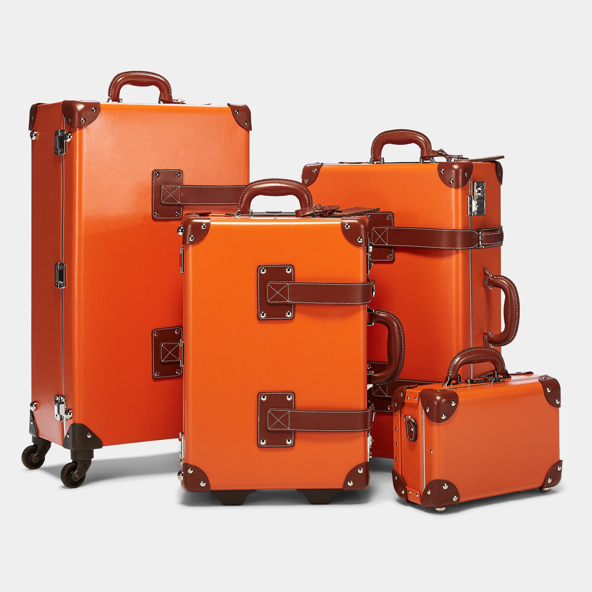 The Anthropologist Carryon in Orange - Vintage Style Leather Case - Alongside matching cases from the Anthropologist Orange collection