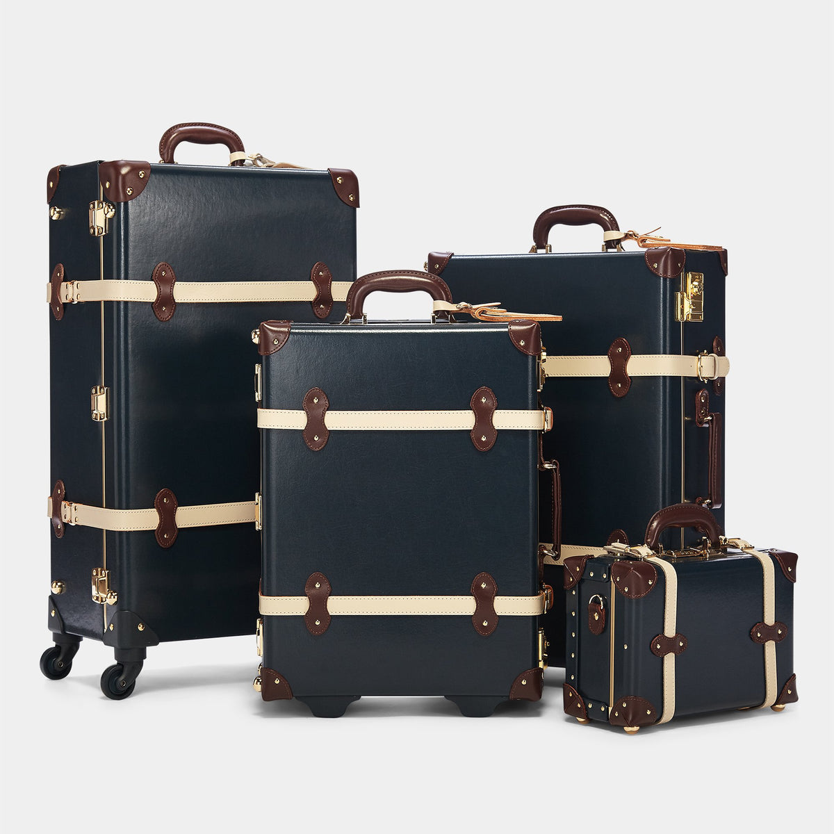 The Architect Carryon in Navy - Vintage Style Leather Case - Alongside matching cases from The Architect Navy collection