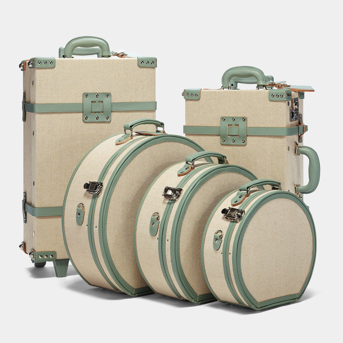 The Editor Carryon in Green - Vintage Style Linen and Leather Case -Carryon with matching Editor cases and hatboxes