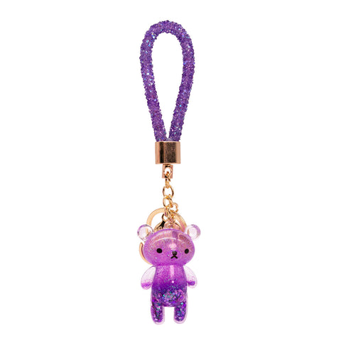 Glitter Bear Key Chain Purple