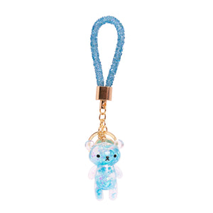 Glitter Bear Key Chain Blue
