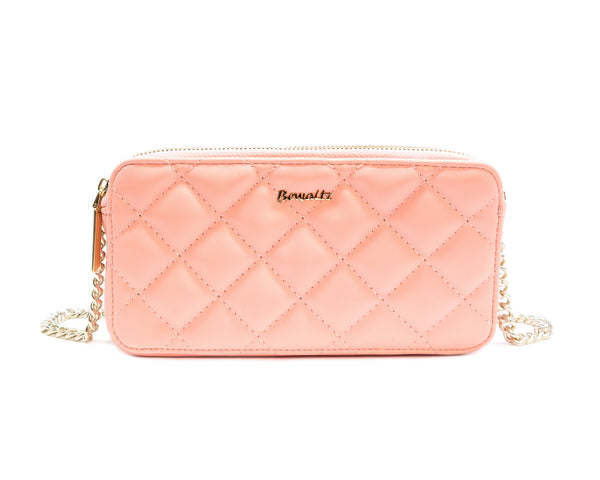 Quilted Wallet Crossbody - Blush