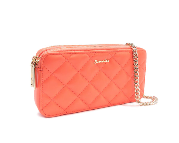 Quilted Wallet Crossbody - Coral
