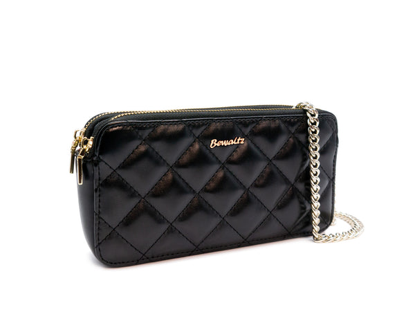 Quilted Wallet Crossbody - Black