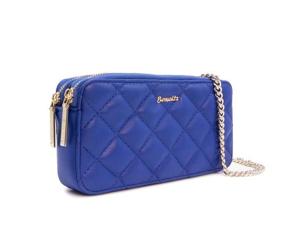 Quilted Wallet Crossbody - Blue
