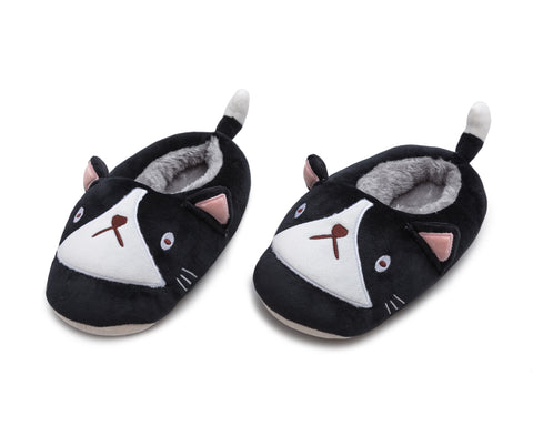 Cat Plushie Slippers - Black