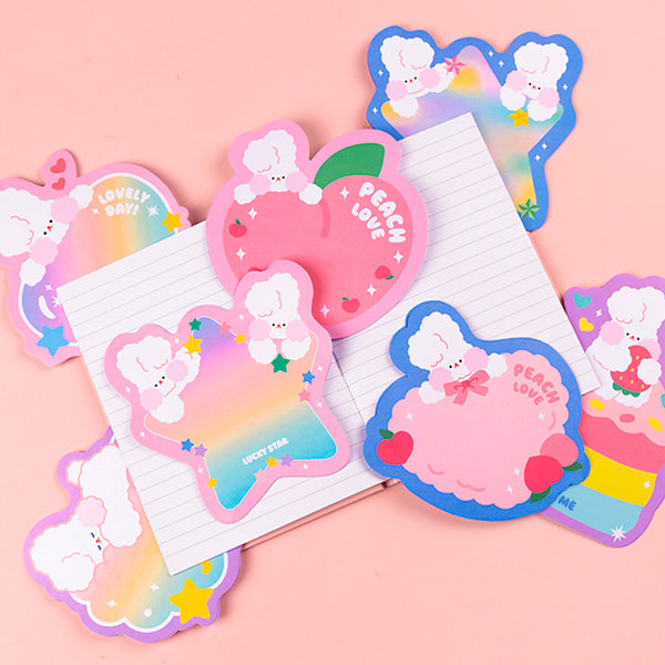 Cute Rainbow Rabbits Memo Sheets