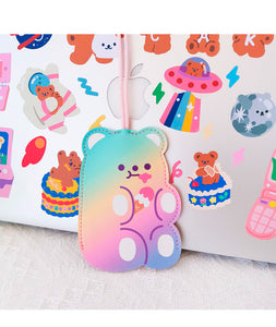 Cute Bear Keychain - Rainbow Ice Cream