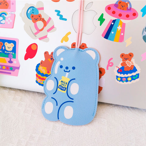 Cute Bear Keychain - Blue Milk