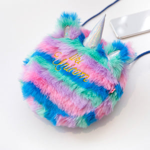 Plush Round Unicorn Crossbody - Blue Stripes