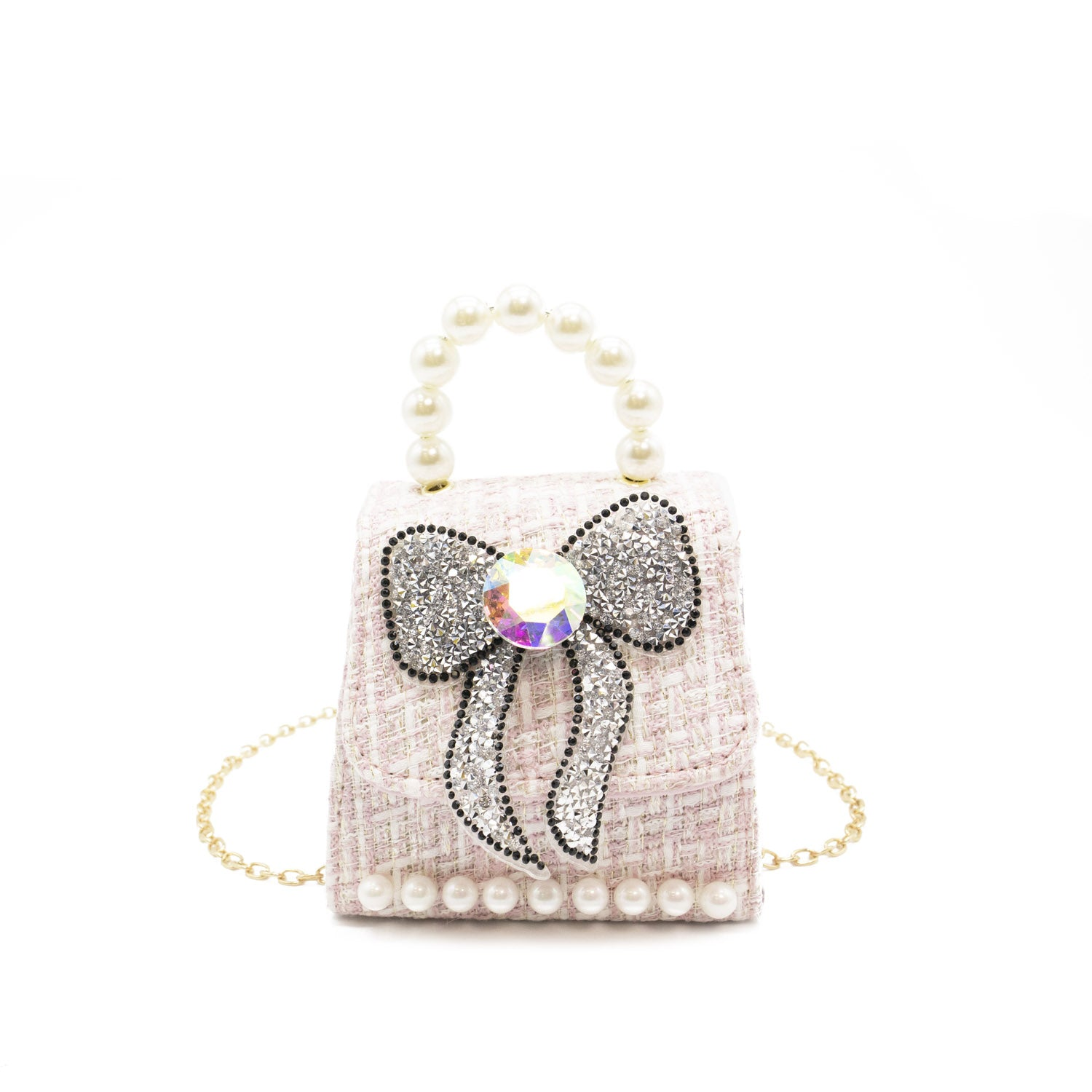 Mini Silver Glittery Bow Crossbody w/ Pearl Handle and Chain