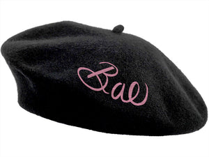 Embroidered Beret - Black Bae