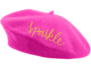 Embroidered Beret - Pink Sparkle