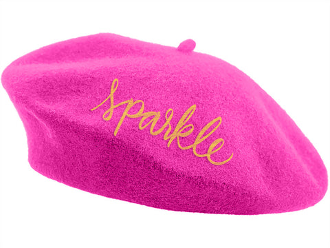 Embroidered Berets - Pink Sparkle