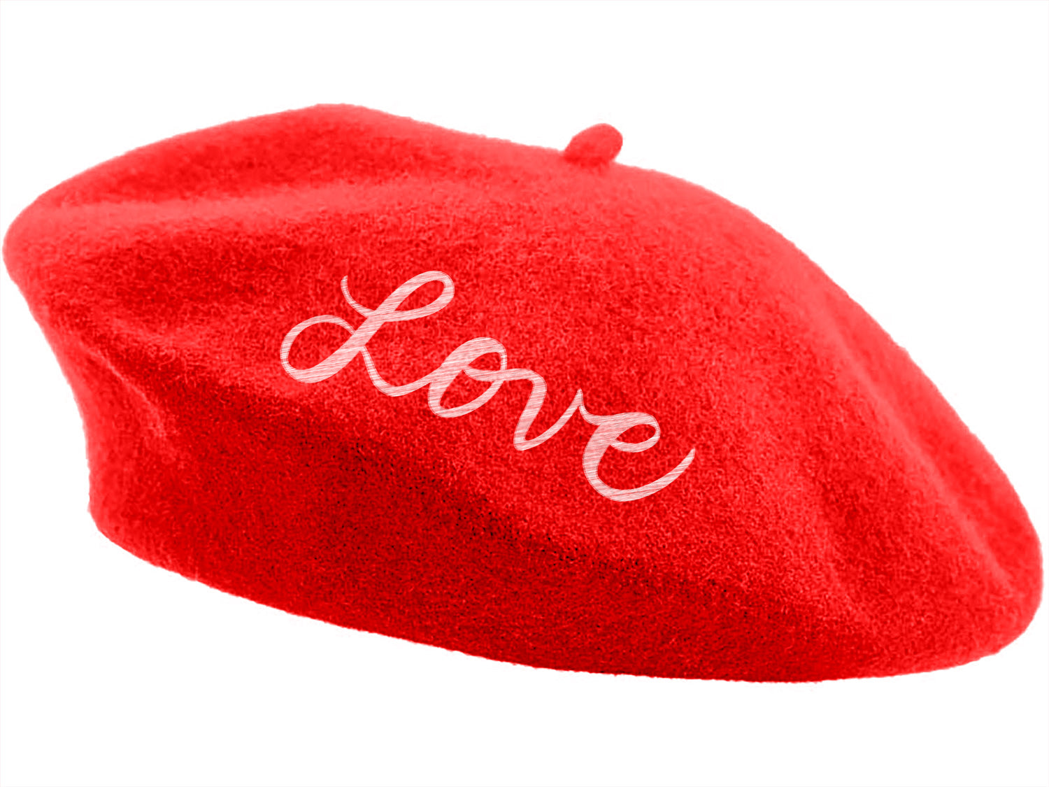 Embroidered Beret - Red Love