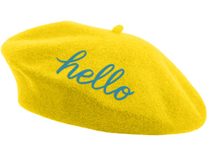 Embroidered Beret - Yellow Hello
