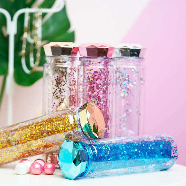 Diamond Lid Glitter Water Bottle - Pink