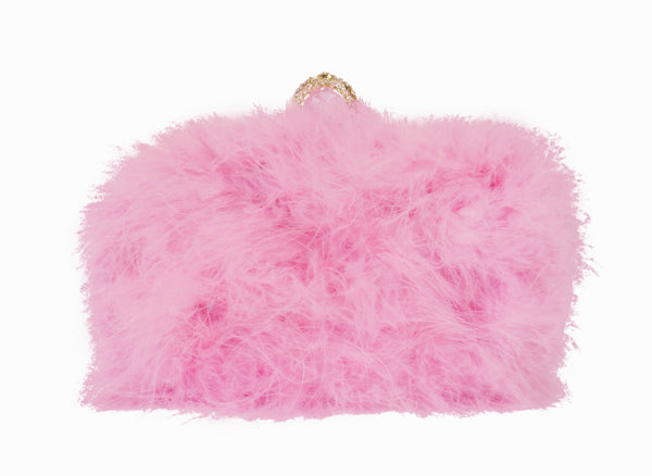 Furry Feather Clutch - Pink