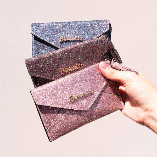 Charlotte Envelope Card Holder Glitter Black