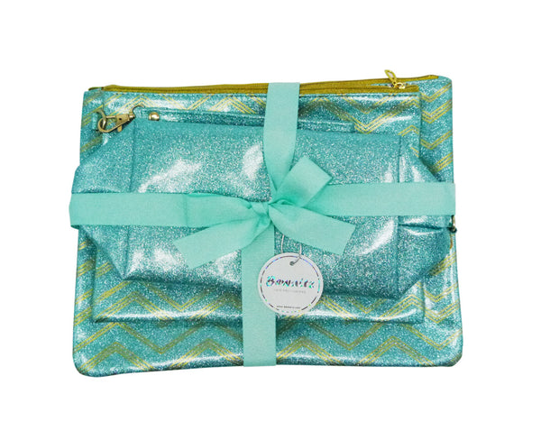 Glitter Makeup Bag Set Green