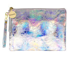 Holographic Makeup Small Pouch Silver