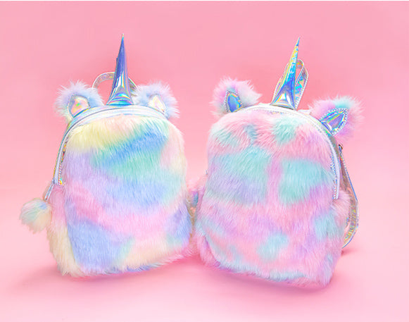 Plush Rainbow Unicorn Backpack - Sunshine